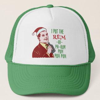 Funny Christmas Retro Man Drinking Rum Holiday Trucker Hat