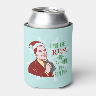Funny Christmas Retro Rum Drinking Man Holiday Can Cooler