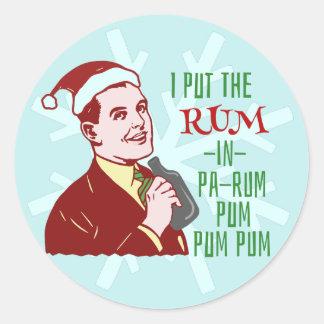 Funny Christmas Retro Rum Drinking Man Holiday Classic Round Sticker