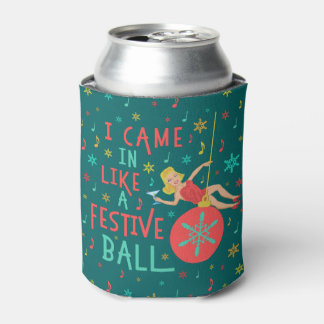 Funny Christmas Retro Woman on Festive Xmas Ball Can Cooler
