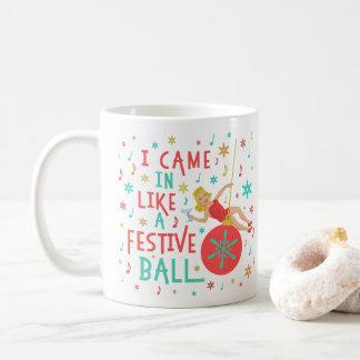 Funny Christmas Retro Woman on Festive Xmas Ball Coffee Mug