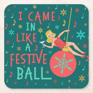 Funny Christmas Retro Woman on Festive Xmas Ball Square Paper Coaster