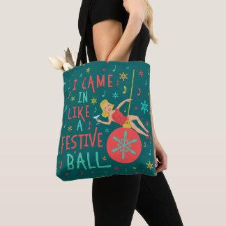 Funny Christmas Retro Woman on Festive Xmas Ball Tote Bag
