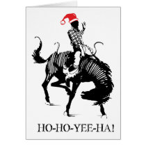 Funny Christmas rodeo Santa on black horse Card