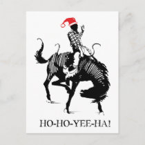 Funny Christmas rodeo Santa on black horse Holiday Postcard