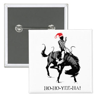 Funny Christmas rodeo Santa on black horse Pinback Button