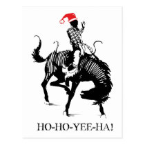 Funny Christmas rodeo Santa on black horse Postcard