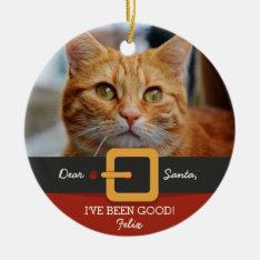 Funny Christmas Santa Cat Photo And Name Custom Ceramic Ornament at Zazzle