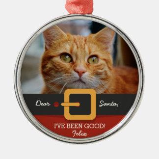 Funny Christmas Santa Cat Photo and Name Custom Metal Ornament
