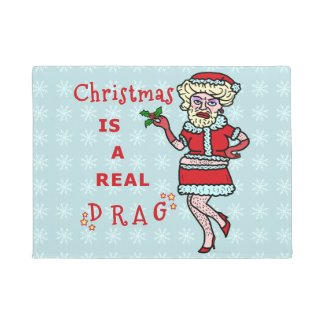 Santa Claus Drag Bah Humbug Party Funny Christmas Rug