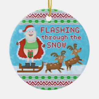 Funny Christmas | Santa Claus Flashing Thru Snow Ceramic Ornament