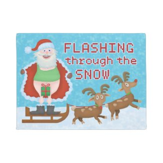 Santa Claus Flashing Thru Snow Funny Christmas Doormat