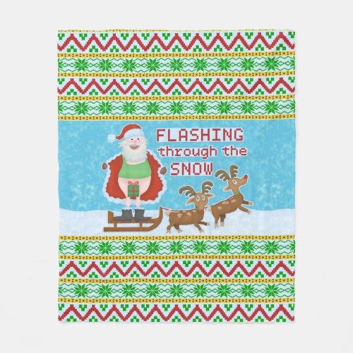 Funny Christmas | Santa Claus Flashing Thru Snow Fleece Blanket