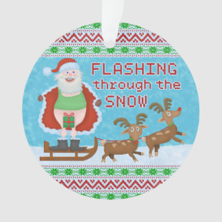 Funny Christmas | Santa Claus Flashing Thru Snow Ornament