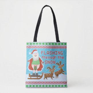 Funny Christmas | Santa Claus Flashing Thru Snow Tote Bag