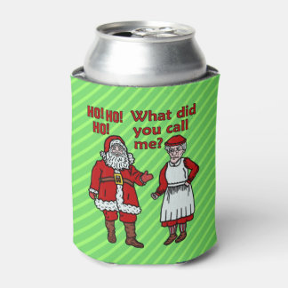 Funny Christmas Santa Claus & Mrs Holiday Joke Can Cooler