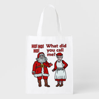 Funny Christmas Santa Claus & Mrs Holiday Joke Grocery Bag