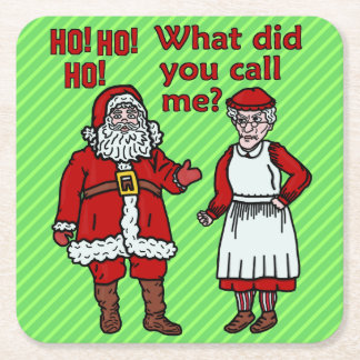 Funny Christmas Santa Claus & Mrs Holiday Party Square Paper Coaster