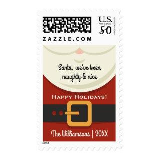 Funny Christmas Santa Claus Naughty & Nice Holiday Postage at Zazzle
