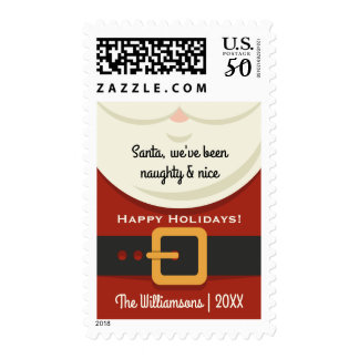 Funny Christmas Santa Claus Naughty & Nice Holiday Postage