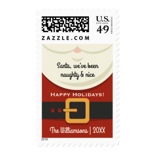 Funny Christmas Santa Claus Naughty & Nice Holiday Postage at Zazzle