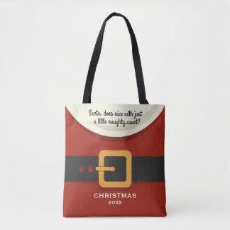 Funny Christmas Santa Claus Naughty & Nice Holiday Tote Bag