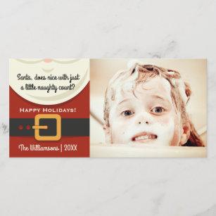 funny christmas santa claus naughty nice photo holiday card - Naughty Or Nice Christmas Card