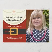 Funny Christmas Santa Claus Naughty & Nice Photo Holiday Card