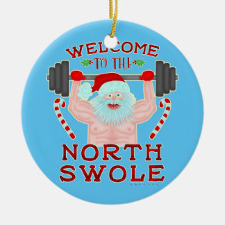 Funny Christmas Santa Claus Swole Weightlifter Ceramic Ornament