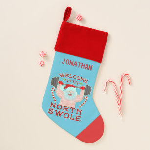 funny christmas santa claus swole weightlifter christmas stocking - Funny Christmas Stockings