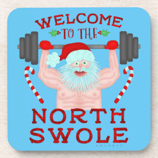 Funny Christmas Santa Claus Swole Weightlifter Coaster
