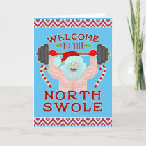 Funny Christmas Santa Claus Swole Weightlifter Holiday Card