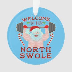 Funny Christmas Santa Claus Swole Weightlifter Ornament at Zazzle