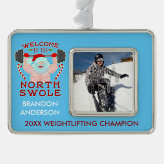 Funny Christmas Santa Claus Swole Weightlifter Silver Plated Framed Ornament