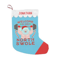 Funny Christmas Santa Claus Swole Weightlifter Small Christmas Stocking