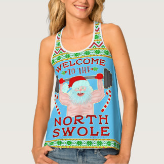 Funny Christmas Santa Claus Swole Weightlifter Tank Top