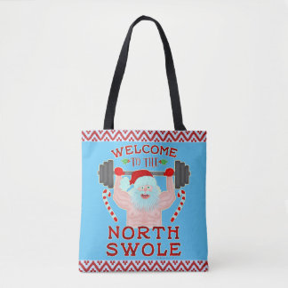 Funny Christmas Santa Claus Swole Weightlifter Tote Bag