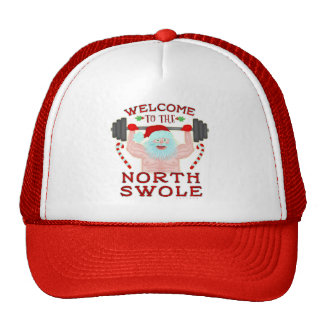 Funny Christmas Santa Claus Swole Weightlifter Trucker Hat