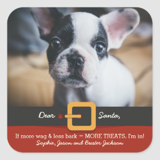 Funny Christmas Santa Dog More Wag Less Bark Photo Square Sticker