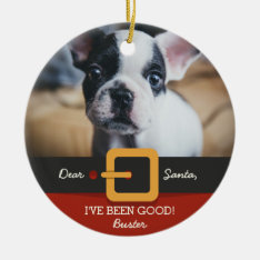 Funny Christmas Santa Dog Photo And Name Custom Ceramic Ornament at Zazzle
