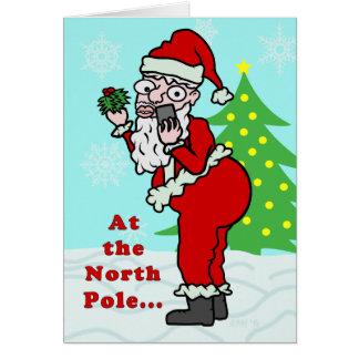 Funny Christmas Santa Elfie Greeting Card