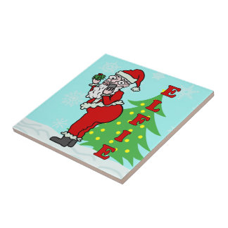 Funny Christmas Santa Elfie Ceramic Tile