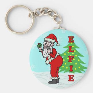 Funny Christmas Santa Elfie Keychain