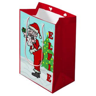 Funny Christmas Santa Elfie Medium Gift Bag