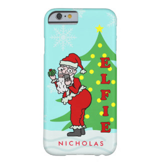 Funny Christmas Santa Elfie Personalized Barely There iPhone 6 Case