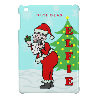 Funny Christmas Santa Elfie Personalized Case For The iPad Mini