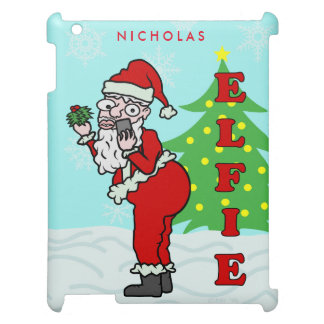 Funny Christmas Santa Elfie Personalized iPad Case