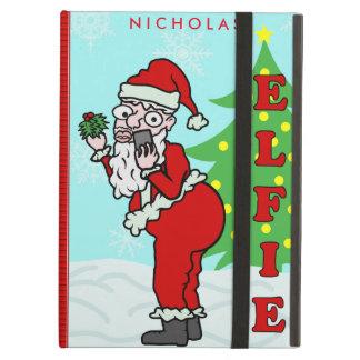 Funny Christmas Santa Elfie Personalized iPad Air Cover