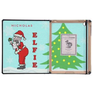 Funny Christmas Santa Elfie Personalized iPad Folio Cases