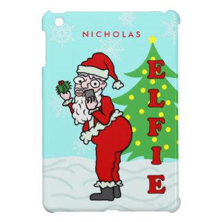 Funny Christmas Santa Elfie Personalized iPad Mini Case
